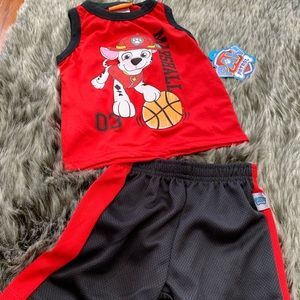 Nickelodeon Blk/Red Paw Patrol outfit sz 12mon NWT